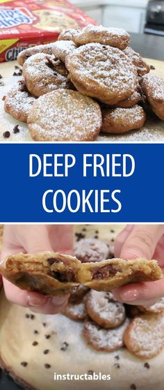 Make fun fair food at home by deep frying chocolate chip cookies (or any cookie). Deep Fried Donuts, Deep Fried Desserts, Deep Fried Foods, Deep Fried Donut Recipe, Deep Fried Cookie Dough, Delicious Desserts, Dessert Recipes, Yummy Food, Healthy Food