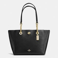 TURNLOCK CHAIN TOTE IN POLISHED PEBBLE LEATHER - Coach Australia