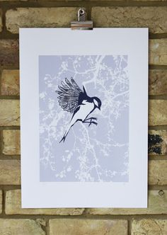 bird print limited edition screen print hand by PaperRainbowPrints