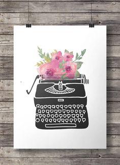 Watercolor flowers Vintage typewriter print   by SouthPacific (Art & Collectibles, Prints, Digital Prints, print, inspiration, vintage, typewriter, writer, write something, writing, typewriter print, writer print, author, vintage typewriter, watercolor flowers, watercolor)