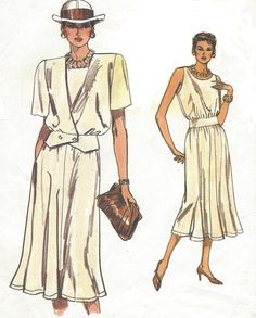 Womens Blouson Sundress and Double Breasted Jacket Vogue Sewing Pattern 9322 Size 12 14 16 Bust 34 36 38 UnCut Very Easy Very Vogue Vogue Sewing Patterns, Easy Sewing Patterns, Pattern Sewing, Vintage Patterns, Vintage Sewing, Vintage Clothing, Jacket Style, Jacket Dress, Vintage Outfits