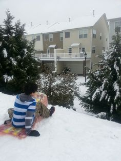 Sledding in Charlotte, NC during snowstorm 2014