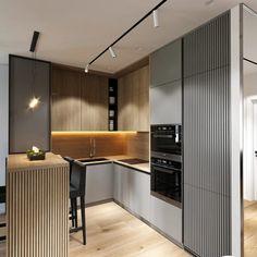 Small Kitchen Layouts, Kitchen Design Open, Kitchen Cabinet Design, Interior Design Kitchen, Open Kitchen, Kitchen Island Decor, Home Decor Kitchen, Small Apartment Kitchen, Modern Kitchen Interiors