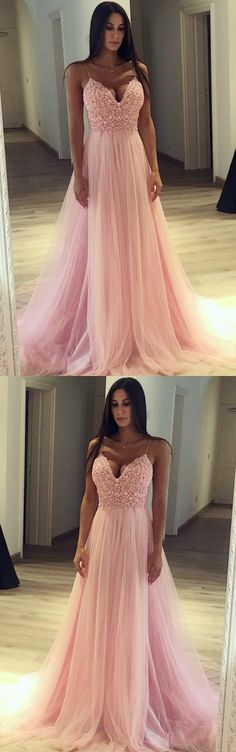 Prom Dress with Thin Straps, Back To School Dresses, Prom Dresses For Teens, Graduation Party Dresses , M1285#prom #promdress #promdresses #longpromdress #promgowns #promgown #2018style #newfashion #newstyles #2018newprom #eveninggown #pinkpromdress #spaghettistrap #partydress
