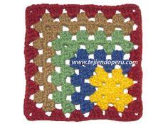 Granny square asimétrico de colores tejido a crochet!