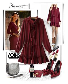 """Tie-neck Drawstring Waist Mini Dress in Burgundy - Yoins"" by albinnaflower ❤ liked on Polyvore featuring yoins"