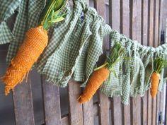 Easter Garland, Carrot Garland, Rustic Easter Decor, Primitive Easter Decor #Handmade