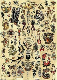 Sailor Jerry designs. Old school tattoo.