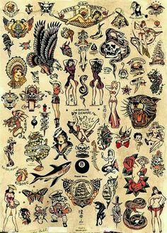Sailor Jerry designs. Old school tattoo.