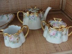 Softly Painted Porcelain Teapot Set with Hand by cinderella88
