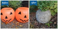 Turn a plastic trick-or-treating container into a beautiful garden accessory!