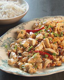 "Serve this home-style version of kung pao chicken and peanuts with a side of steamed white rice. If you're feeding a large crowd, stir-fry an additional batch instead of making one large serving at once; overcrowding the pan won't allow the ingredients to cook properly.  From the book ""Mad Hungry,"" by Lucinda Scala Quinn (Artisan Books)."