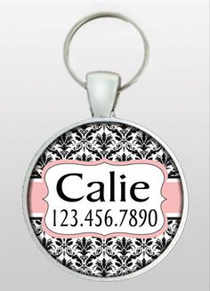 Pet I.D. Tag - Dog ID Tag - Dog Tag - Victorian Damask - Custom Name & Phone Number - Design No. 204R