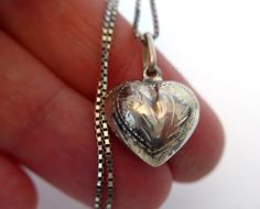 Vintage 925 Etched Sterling Silver Puffy Heart by FourthEstateSale