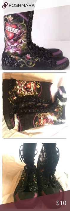 Ed Hardy mid calf sneakers Ed Hardy mid calf converse like sneakers. Worn maybe twice. Good condition. Flaws in pictures. Ed Hardy Shoes Sneakers