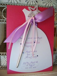 Pretty Princess Birthday Invitation with Wand - Custom Dress Die Cut