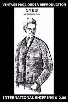 Vintage 60's Mail Order #5165 Mens Mans Crocheted Crochet Jacket Sweater Pattern #PATTERNPEDDLER5165