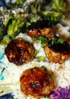 Chicken Teriyaki Meatballs -5 ingredients and a healthy, complete meal in under 30 minutes!