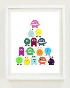 Nursery Print | Monsters | Boys Room | Kids Decor | Wall Art