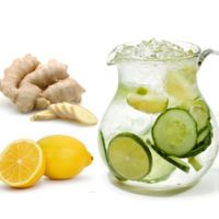 Flat tummy water recipe: In a BPA-free pitcher or mason jar, add the following: 6 cups of filtered water 1 tbsp of grated ginger 1 cucumber, sliced 1 lemon, sliced 1/2 cup of mint leaves Let the mixture infuse overnight Drink it all the next day and enjoy! Make sure ingredients are organic TIP: You can do this every other day for 1 week. This is safe and very hydrating too.