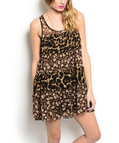 Look what I found on #zulily! Brown Leopard-Contrast Shift Dress #zulilyfinds