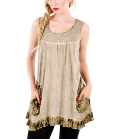 Look at this #zulilyfind! Beige Ruffle Tunic by Aster #zulilyfinds