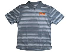 Pitt Script Embroidered Striped Adidas Pure Motion Polo - Lead/White