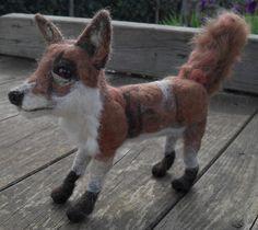 Handmade felted foxy fox sculpture by JuliePavittRobinson on Etsy