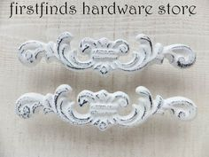 White Shabby Chic Furniture handles by FIRSTFINDS HARDWARE STORE on Etsy