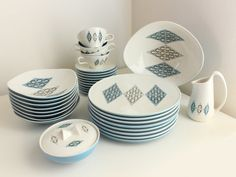 Ben Seibel Iroquois Informal Dinnerware, Service for 8 in Blue Diamonds Pattern at Los Fabulous Vintage