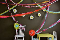 Cinco de Mayo is the perfect time to bust out the bright party decoration ideas. We love these Colorful Ruffled Streamers because they're great for a fiesta! If you're looking for quick Cinco de Mayo party ideas this homemade garland is a fast craft. Streamer Backdrop, Crepe Paper Streamers, Party Streamers, Tissue Paper, Tissue Garland, Diy Paper, Party Girlande, Summer Party Decorations, Mexican Decorations