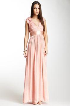 BCBGMAXAZRIA Torey Silk V-Neck Long Dress by BCBGMAXAZRIA on @HauteLook
