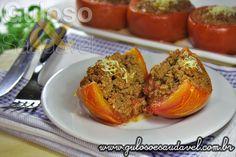Estes Tomates Recheados com Carne são deliciosos, requintados, tentadores e muito fáceis de fazer. Bora fazer!  #Receita aqui: http://www.gulosoesaudavel.com.br/2013/04/24/tomates-recheados-com-carne/