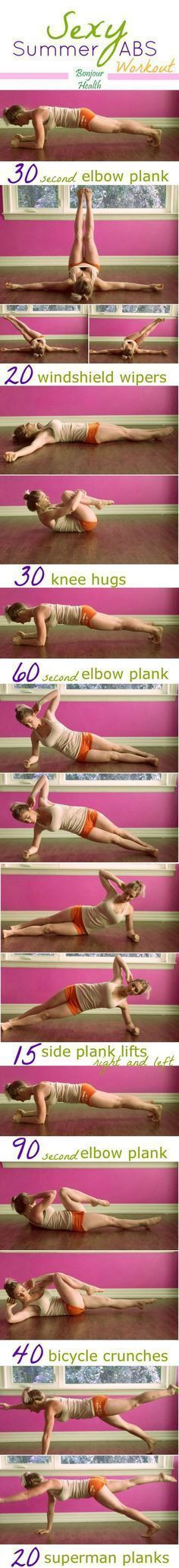 An easy, cheap and effective workout to create those sexy summer abs to make heads turn this summer! A complete workout anyone can do at home!