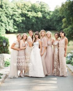 Each of the bride's attendants wore a different blush or champagne-colored Bhldn…