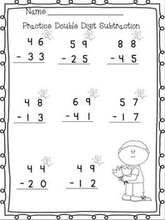 math worksheet : 1000 images about matematica on pinterest  color by numbers  : Double Digit Subtraction Worksheet