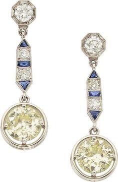 Art Deco Diamond, Sapphire, Platinum Earrings.