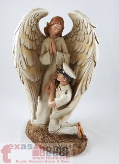 Navy Winged Guardian Angel Statue Figurine Soldier Military Religious Art