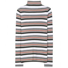 T by Alexander Wang Striped Knitted Wool Sweater ($195) ❤ liked on Polyvore featuring tops, sweaters, multicoloured, striped sweater, t by alexander wang, t by alexander wang sweater, striped top and multi color striped sweater