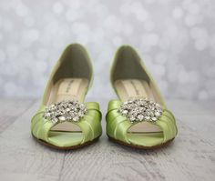 Green Wedding Shoes, Green Wedding, Custom Wedding Shoes, Kitten Heels, Peep Toes, Crystal Wedding Shoes, Light Green Shoes, Green Bridal