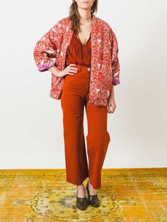 2-Way Kimono Coat Red/White Bird