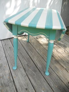 Aqua Striped Drop Leaf Table RESERVED FOR by MISFITSFURNISHINGS. $75.00, via Etsy.