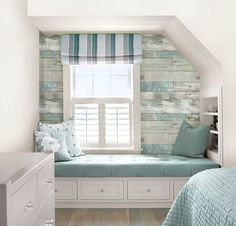 Create an Accent Wall with Weathered Wood Wallpaper for a Beachy Distressed Look... http://www.completely-coastal.com/2017/01/weathered-wood-wallpaper.html