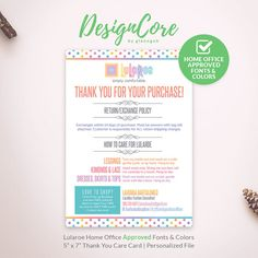 Lularoe Thank You Cards Care Cards Home Office by DesignCore