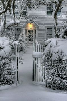 Snowy scene...love this - welcoming - come right in
