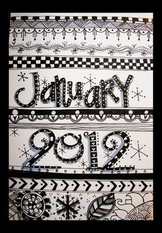 calendar with zentangle Zentangle Drawings, Doodles Zentangles, Zentangle Patterns, Doodle Drawings, Tangle Doodle, Tangle Art, Zen Doodle, Doodle Inspiration, Art Journal Inspiration