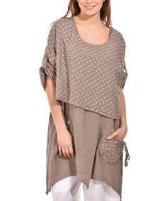 Loving this Taupe Asymmetric Linen Tunic - Plus Too on #zulily! #zulilyfinds