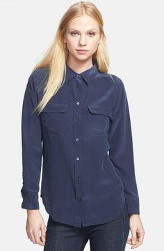 EQUIPMENT Slim Signature Silk Shirt Peacoat $180