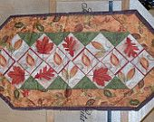 Fall Leaves table runner 36L x16 w reversible solid back