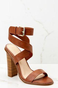 f4c6ee282207e7 Trendy Brown Ankle Strap Heels - Cute Heels - Heels -  38.00 – Red Dress  Boutique